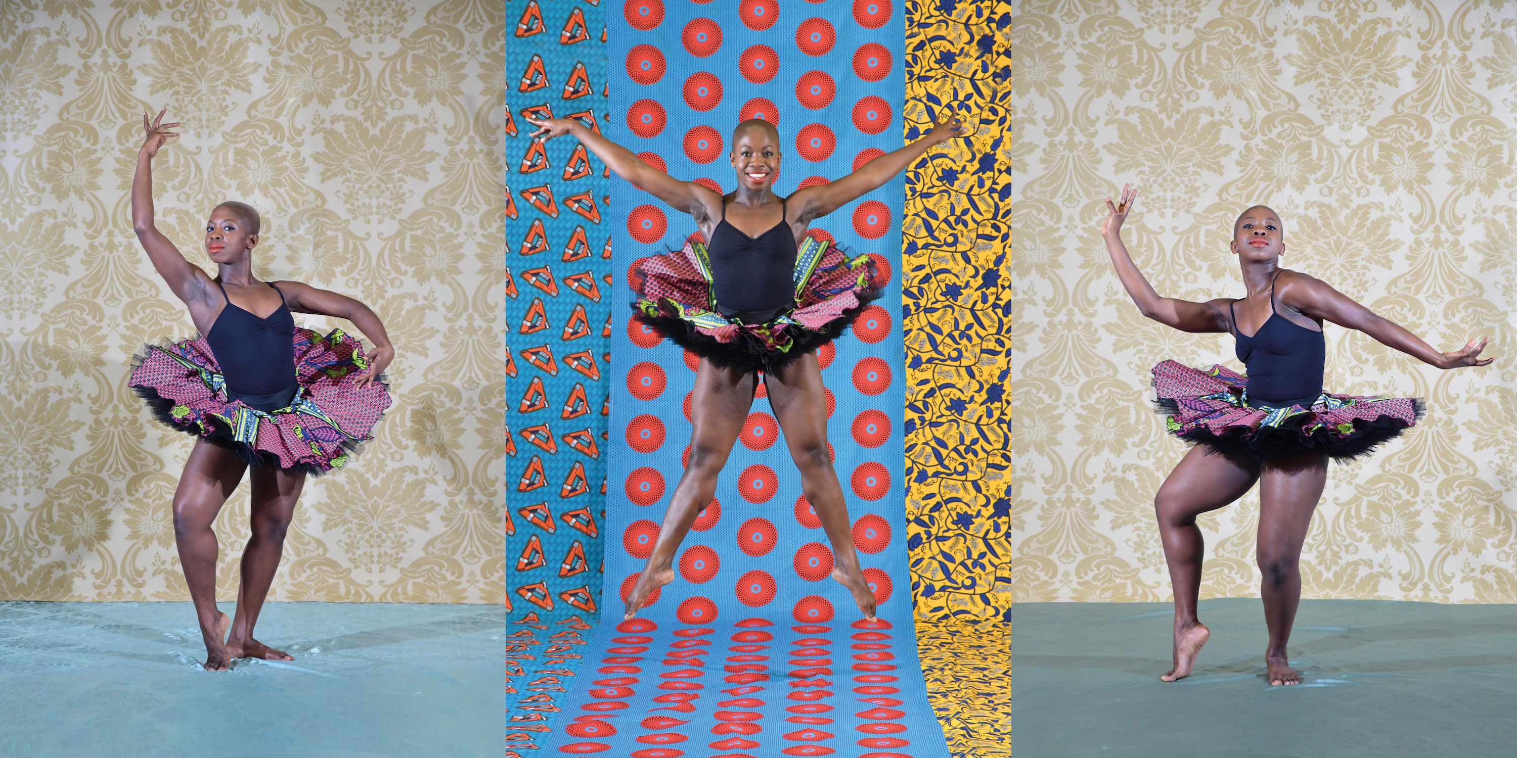 3 strong female dancers wearing ballet tutus leap against brightly coloured backgrounds
